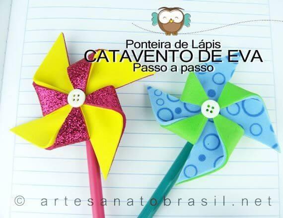 Lembrancinha Ponteira de Lápis com EVA em forma de Catavento