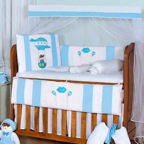 Kit Berço 11 Peças Balão Mágico Azul Bebê