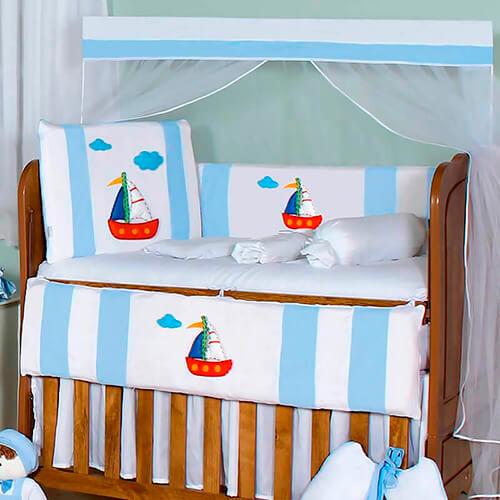 Kit Berço 11 Peças Barquinho Azul Bebê