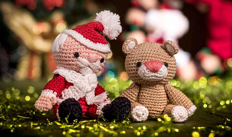 Papai Noel e Ursinho em Crochê