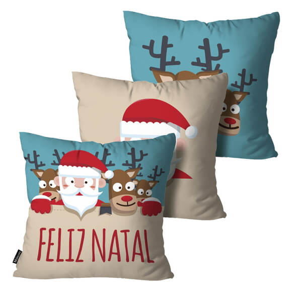 Kit 3 Almofadas de Natal Decorativas