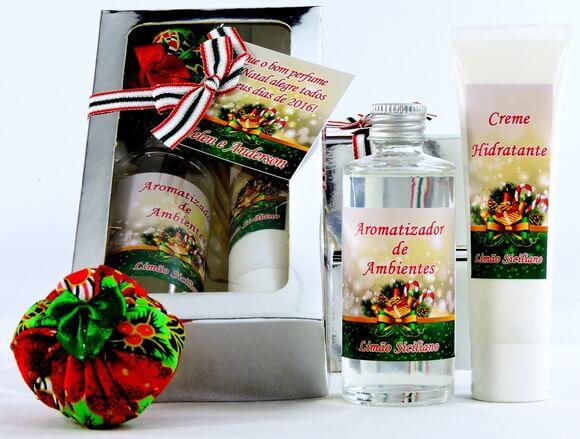 Kit Lembrancinha de Natal Creme Hidratante e Aromatizador