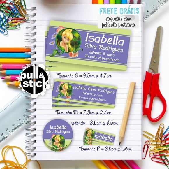Etiqueta escolar Tinker Bell
